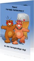 Grappige verjaardagskaart met beren met glas bier