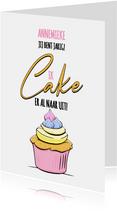 Grappige verjaardagskaart met cake voor de jarige vrouw