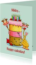 Grappige verjaardagskaart met grote taart