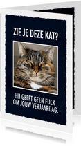 Grappige verjaardagskaart met leuke tekst & foto van een kat