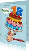 Grappige verjaardagskaart met muisje en grote taart