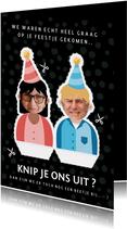 Verjaardagskaarten - Grappige verjaardagskaart met uitknipvisite met eigen foto's