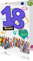 Grappige verjaardagskaart voor een  jongen die 18 jaar wordt