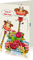 Grappige verjaardagskaart voor een vrouw met humor giraffen