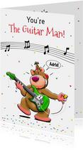 Grappige verjaardagskaart voor jarige man, die gitaar speelt