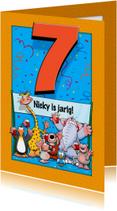Grappige verjaardagskaart voor kind dat 7 jaar wordt