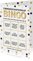 Grappige zwangerschapsverlof wenskaart met bingo kaart