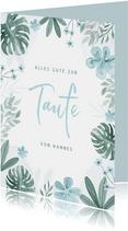 Gratulationskarte zur Taufe blauer Blumenrahmen