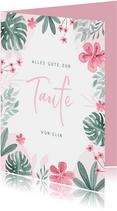 Gratulationskarte zur Taufe rosa Blumenrahmen
