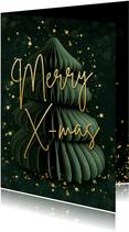 Groene kerstkaart met papieren kerstboom en gouden spetters