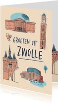 Groeten uit Zwolle stad illustraties