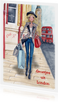 Groetjes uit London Illustratie meisje
