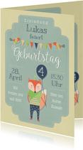 Grüne Einladungskarte Kindergeburtstag kleiner Fuchs