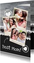 Grußkarte 'Best Mom' Holzlook mit drei Fotos