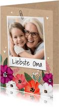 Grußkarte Blumen, Kraftpapier und Foto