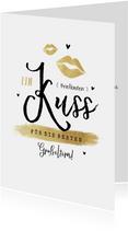 Grußkarte Briefkasten Kuss mit Herzen