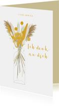 Grußkarte gelbe Trockenblumen in Vase