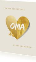Grußkarte goldenes Herz 'allerbeste Oma'