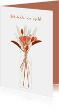 Grußkarte 'Ich denk an dich' Blumenvase