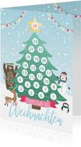 Grußkarte Kinder Adventskalender zum Abstreichen