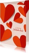 Grußkarte Liebe rote Papierherzen