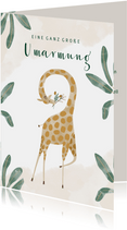 Grußkarte mit Giraffe und Wasserfarben