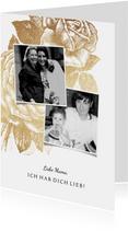 Grußkarte Muttertag goldene Rose und Fotos