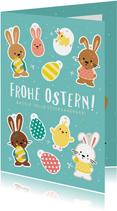 Grußkarte Ostern mit lustigem Bastelbogen