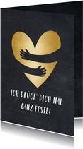 Grußkarte Umarmung mit Herz in Goldlook