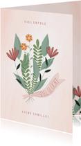 Grußkarte 'Viel Glück' Blumenstrauß mit Band