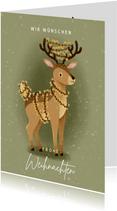 Grußkarte Weihnachten Hirsch mit Lichterkette