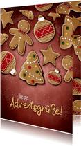 Grußkarte zum Advent mit Weihnachtsplätzchen