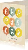 Grußkarte zum Geburtstag bunte Luftballons
