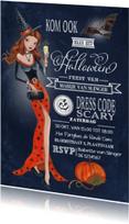 Halloween feest Heks Schoolbord