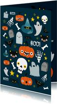 Halloween Karte mit fröhlichen Abbildungen