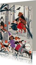 Halloween kinderen in een optocht verkleed
