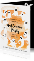 Halloweenfeestje met spooken en oranje waterverf