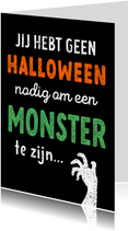 Halloweenkaart grappig vriendschap monster