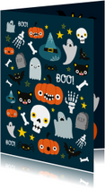 Halloweenkaart met vrolijke illustratie
