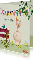 Verjaardagskaarten - Happy birthday alpaca