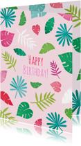 Happy birthday bladeren roze