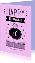 Happy Birthday zwart op kleurtje