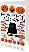 Happy halloween kaart zwarte kat