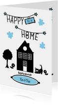Happy new home, zwart wit met huisje, boompje, beestje