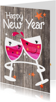 Happy New Year - wijnglazen hout