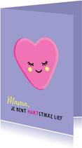Hartstikke lieve moederdagkaart met hartjessnoepje