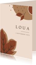Herfst geboortekaartje voor een meisje met abstracte vormen