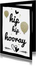 Verjaardagskaarten - Hip Hip Hooray gold