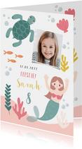 Hip kinderfeestje uitnodiging zeemeermin, schildpad en foto