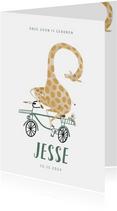 Hip lief geboortekaartje giraf op de fiets illustratie
